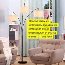 Load image into Gallery viewer, Modern LED Arc Floor Lamp with Marble Base - 3 Hanging Lights - EK CHIC HOME