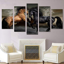 Load image into Gallery viewer, Horses Modern Wall Art Gallery-Wrapped Canvas Art 5 Piece Set Framed - EK CHIC HOME