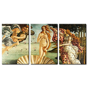 3 Panel World Famous Painting Reproduction on Canvas Wall Art - The Birth of Venus by Sandro Botticelli Ready to Hang - EK CHIC HOME
