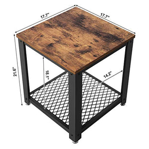 Industrial End, 2-Tier Side Table with Storage Shelf Vintage - EK CHIC HOME