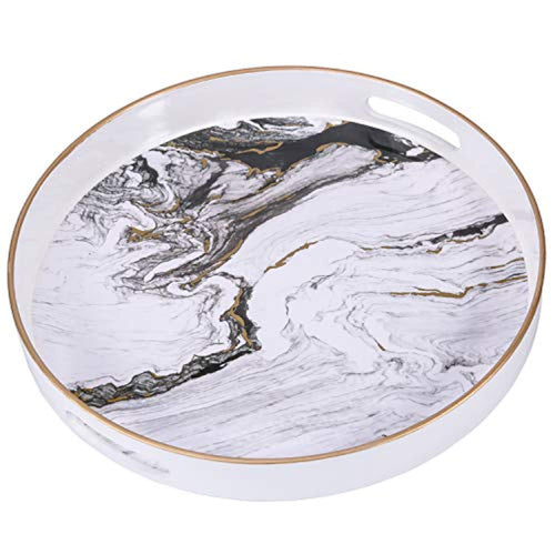 Decorative Tray, Marbling Plastic Tray with Handles - EK CHIC HOME