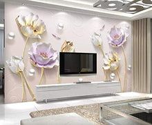 Load image into Gallery viewer, 3D Embossed Floral Wallpaper Tulip Flower Wall Mural Soft Blossom Wall Art Classic - EK CHIC HOME