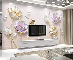 3D Embossed Floral Wallpaper Tulip Flower Wall Mural Soft Blossom Wall Art Classic - EK CHIC HOME