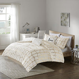 5PCS Ivory/Gold Design Comforter Set, Full/Queen - EK CHIC HOME