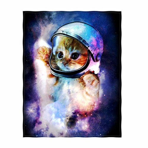 Galaxy Cat Printing Velvet Plush Throw Blanket 58