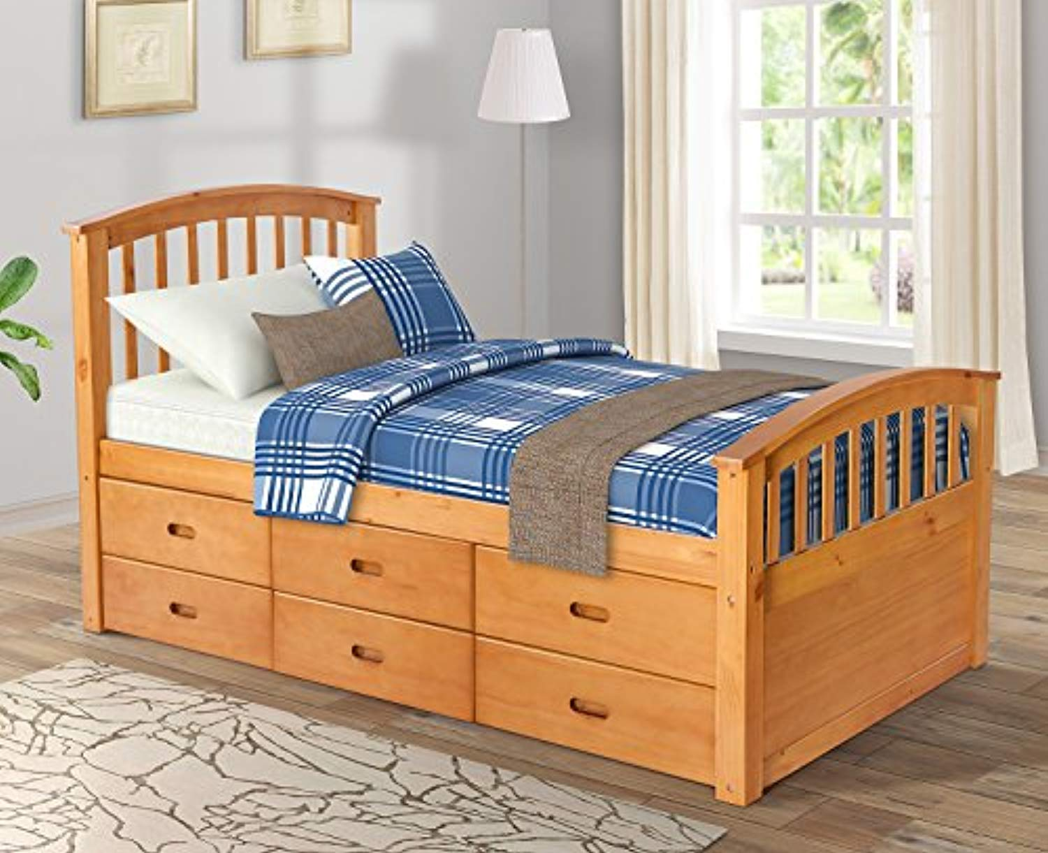 Twin Size Platform Storage Bed Solid Wood Bed With 6 Drawers Natural
