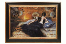 Load image into Gallery viewer, Lady with Fans, Portrait of Nina de Callais Painting by Edouard Manet with Opulent Frame, Dark Stained Wood Gold Trim - EK CHIC HOME