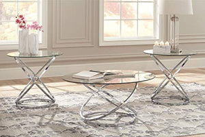 Hollynyx Contemporary 3-Piece Table Set - Includes Cocktail Table & Two End Tables - Chrome Finish - EK CHIC HOME