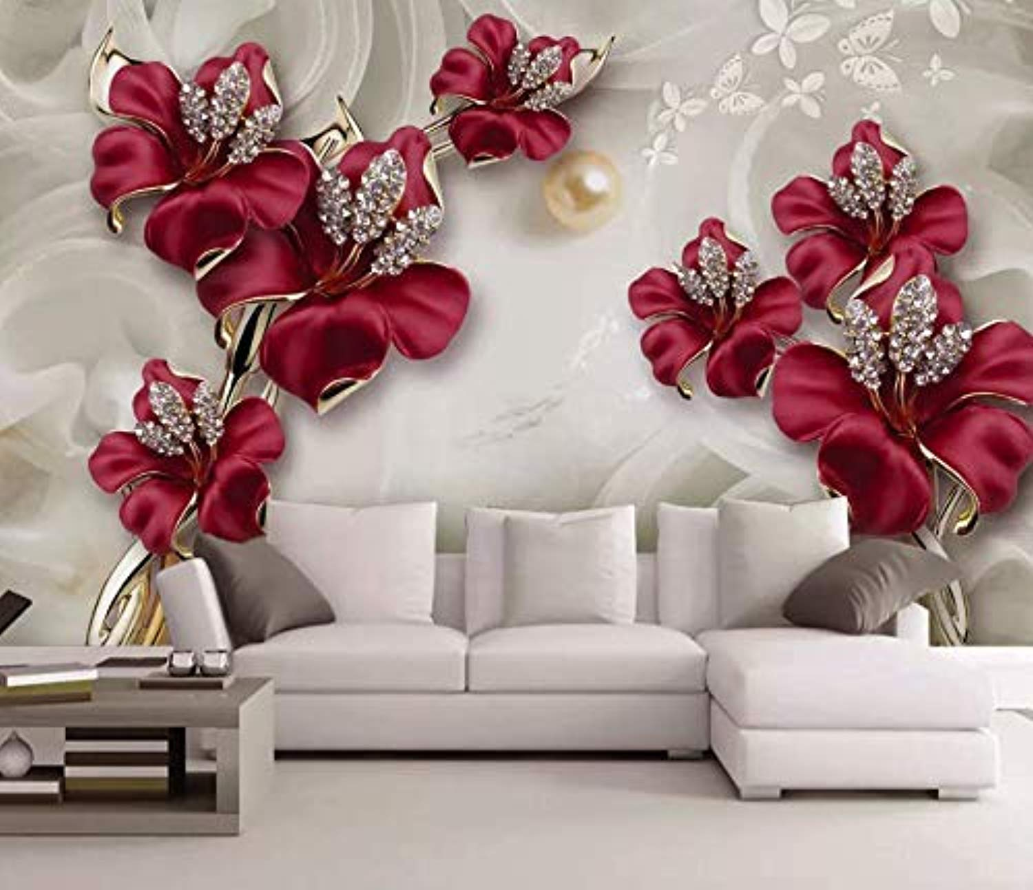 Swarovski Floral Wallpaper Crystal Red Flower Wall Mural Lux Home