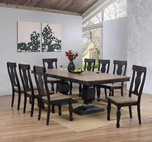 9 Piece Charcoal & Oak Wood Dining Room Set, Extendable Table & 8 Chairs - EK CHIC HOME