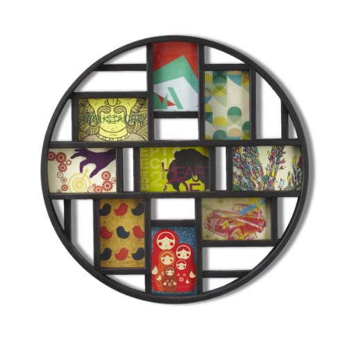 Chic Round Black 9-Opening 4x6 Collage Wall Frame - EK CHIC HOME