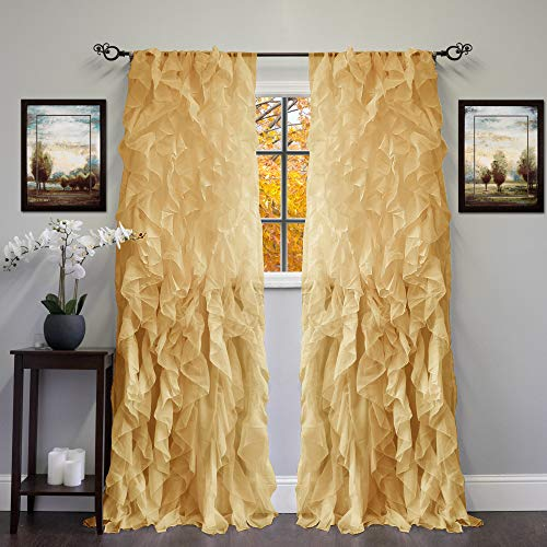 Sheer Voile Vertical Ruffled Window Curtain Panel 2 Piece - EK CHIC HOME