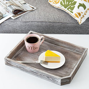 16-Inch Distressed Wood Breakfast Coffee Serving Tray, Dark Gray - EK CHIC HOME