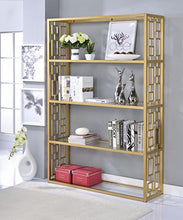 Load image into Gallery viewer, Blanrio Etagere Bookshelf, Clear Glass/Gold - EK CHIC HOME