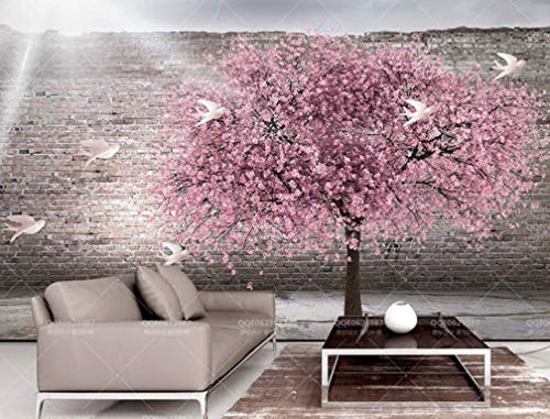 Floral Wallpaper Cherry Blossom Wall Mural Pink Sakura Wall Print Contemporary Home - EK CHIC HOME