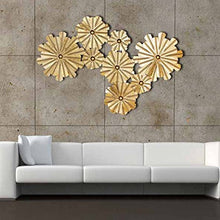 Load image into Gallery viewer, 8 Golden Flowers Extra Large Metal Wall Sculpture - EK CHIC HOME