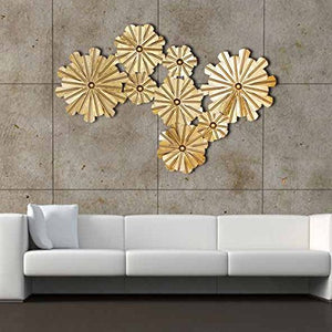 8 Golden Flowers Extra Large Metal Wall Sculpture - EK CHIC HOME