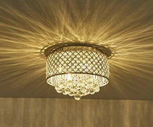 Load image into Gallery viewer, Flush Mount 4-Light Chrome Silver Crystal Chandelier - EK CHIC HOME