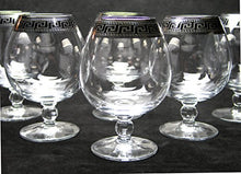 Load image into Gallery viewer, Crystal Cognac Brandy Snifter Goblet, 17 oz. Platinum Greek Key Ornament - EK CHIC HOME
