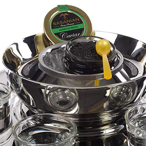 Vienna Stainless Steel 6 Shot Glass Set and Caviar Serving Bowl - EK CHIC HOME