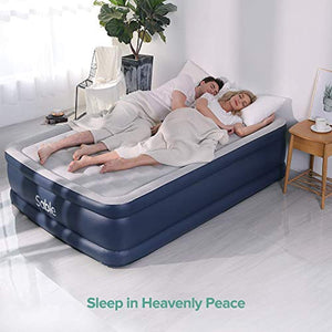 "Queen Size Blow up with Built-in Electric Pump & Storage Bag, A New Level of Comfort, Height 20"" - EK CHIC HOME"
