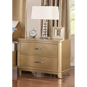 Pine Wood Night Stand Gold - EK CHIC HOME