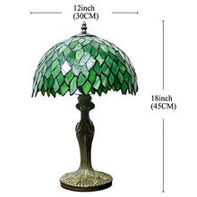 Load image into Gallery viewer, Tiffany Table Lamp Light Green Wisteria Stained Glass Lampshade 18 Inch Tall - EK CHIC HOME