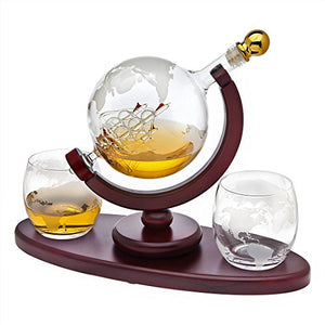 Whiskey Decanter Globe Set with 2 Etched Globe Whisky Glasses - EK CHIC HOME