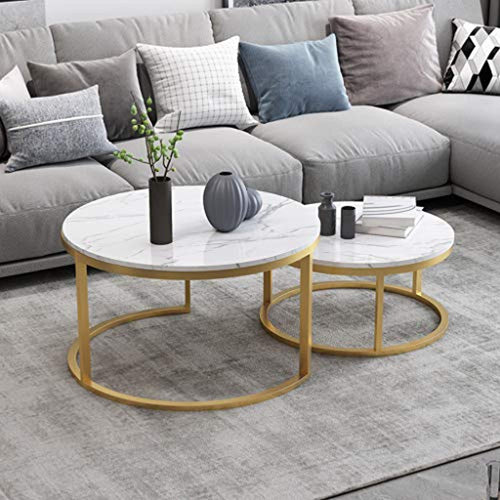Nesting Coffee End Tables - Gold and White - EK CHIC HOME