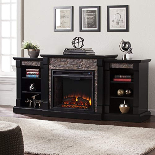 CHIC Ganyan Faux Stone Electric Fireplace with Bookcase, Black Finish - EK CHIC HOME