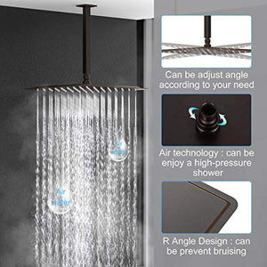 16 Inches Oil Rubbed Bronze Shower Faucets Sets Complete Bathroom Rain Mixer Shower System - EK CHIC HOME