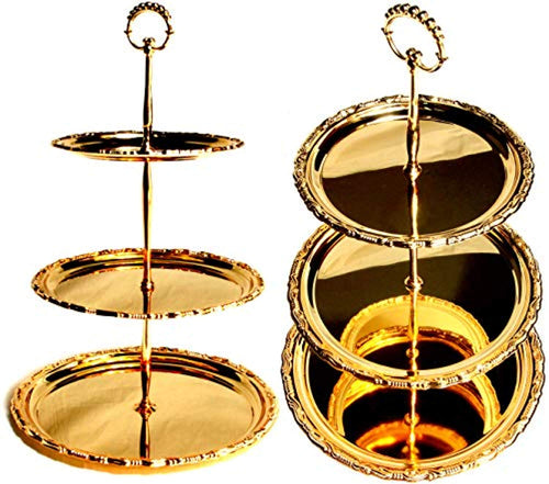 (Pack of 2) Three Tiered Iron Gold Serving Stand Serving Tray For Parties - EK CHIC HOME