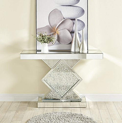 Crystal Console Table with Rectangle Mirror Top, 47