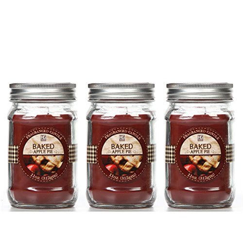 Set of 3, Baked Apple Scented Mason Jar Candles 11 oz Each - EK CHIC HOME