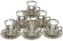 Load image into Gallery viewer, Set of 6 Turkish Style Tea Glasses with Brass Holder Saucer and Spoons Set Silver Plated 24 Pieces - EK CHIC HOME