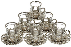 Set of 6 Turkish Style Tea Glasses with Brass Holder Saucer and Spoons Set Silver Plated 24 Pieces - EK CHIC HOME