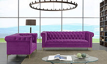 Load image into Gallery viewer, Iconic Gold/Purple Velvet Metal Sofa - EK CHIC HOME