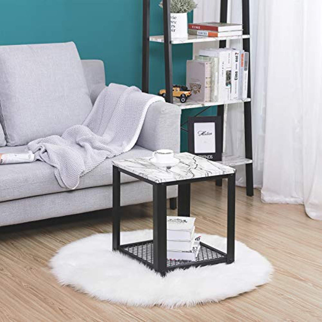 End Table, 2-Tier Side Table with Storage Shelf Living Room, Faux Marble with Metal Frame - EK CHIC HOME