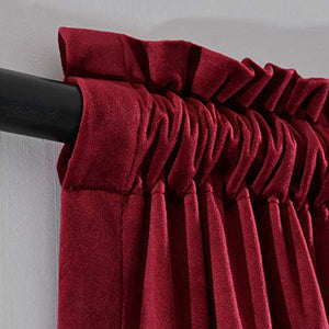 Luxury Curtain for Living Room Blackout Velvet 2 Panels Curtains Set (Burgundy) - EK CHIC HOME