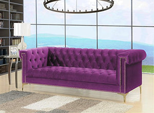 Iconic Gold/Purple Velvet Metal Sofa - EK CHIC HOME