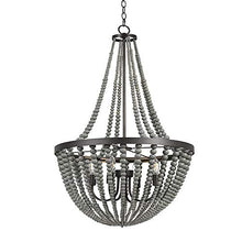 "Load image into Gallery viewer, Grey 4-Light Wood Chandelier, 45.5"" H, With Bulbs - EK CHIC HOME"