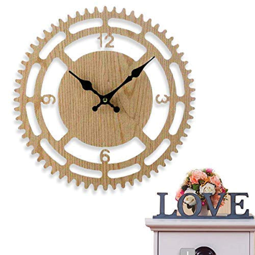 Rotary Wall Clock Big with Perfect Wooden Design, Silent 13 Inch - EK CHIC HOME