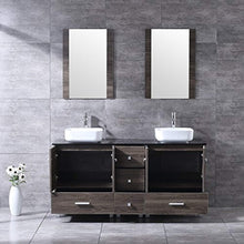 "Load image into Gallery viewer, 60"" Double Wood Bathroom Vanity Cabinet and Ceramic Vessel Sink w/Mirror Combo Faucet - EK CHIC HOME"
