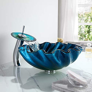 Blue&Green Seashell Wave Tempered Glass Vessel Sink & Waterfall Faucet Set - EK CHIC HOME