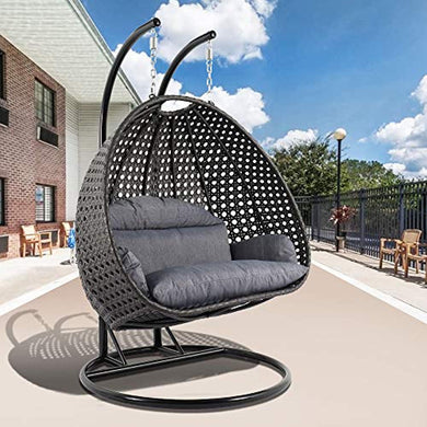 Wicker Hanging 2 Person Egg Swing Chair with Outdoor Cover - EK CHIC HOME