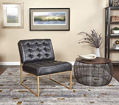 Armless Accent Chair, Black Faux Leather with Gold Base