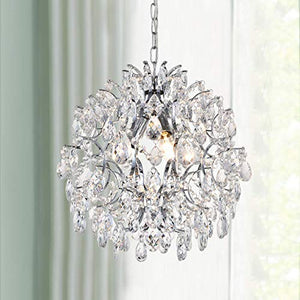 Modern Pendant Chandelier Crystal Raindrop Lighting Ceiling Light Fixture D16 in x H18 in - EK CHIC HOME