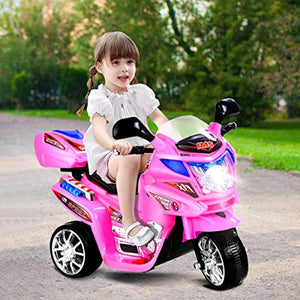 Ride On Motorcycle, 6V Battery Powered 3 Wheels Electric Bicycle, Ride On Vehicle with Music, Horn, Headlights for Kids - EK CHIC HOME