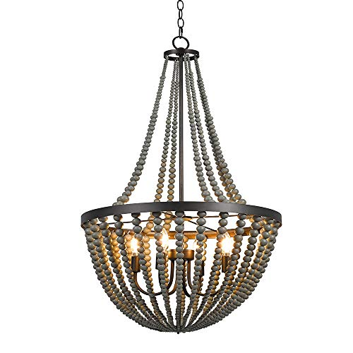 Grey 4-Light Wood Chandelier, 45.5