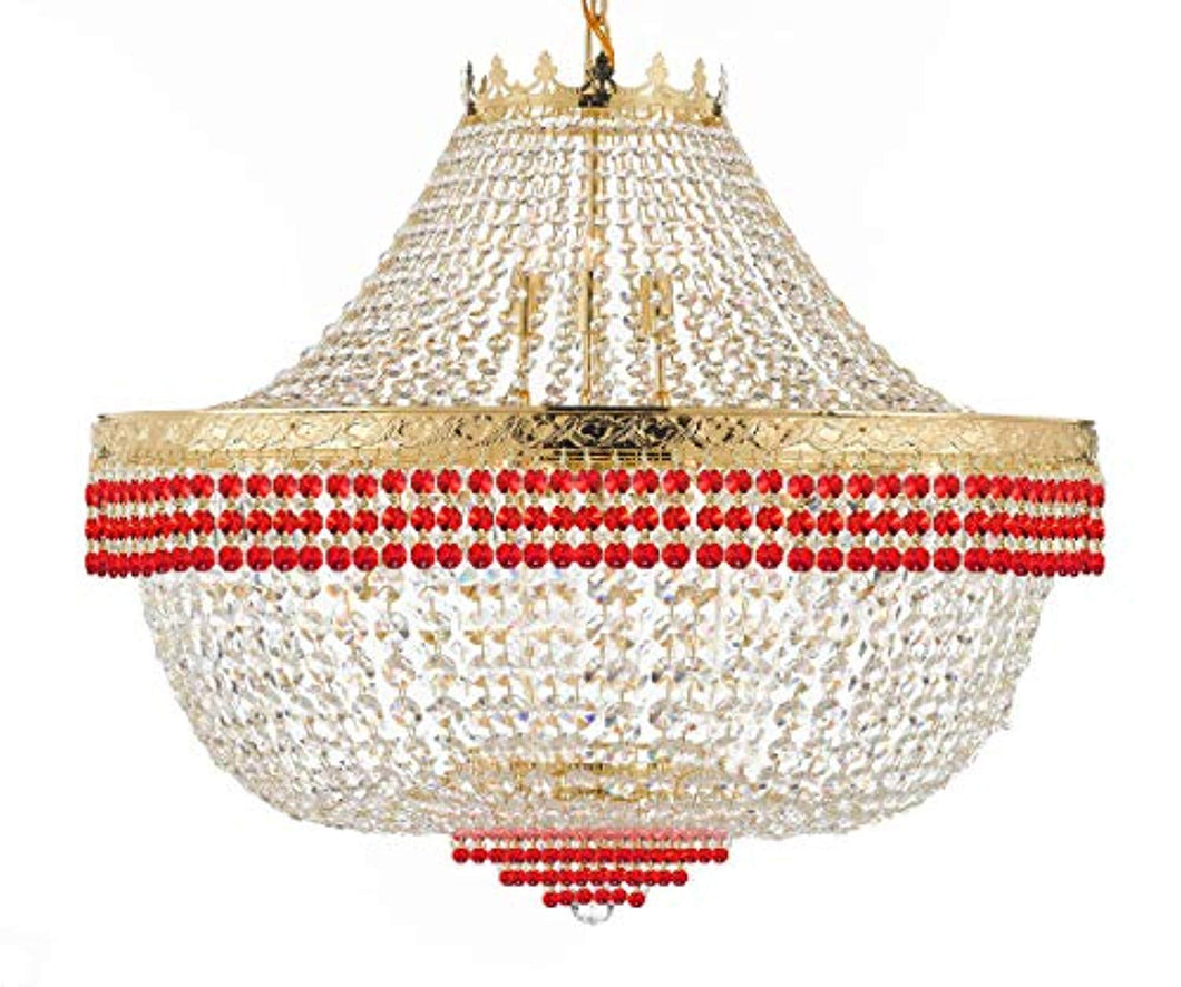 French Empire Crystal Chandelier Lighting Dressed with Ruby Red Crystal Balls - EK CHIC HOME